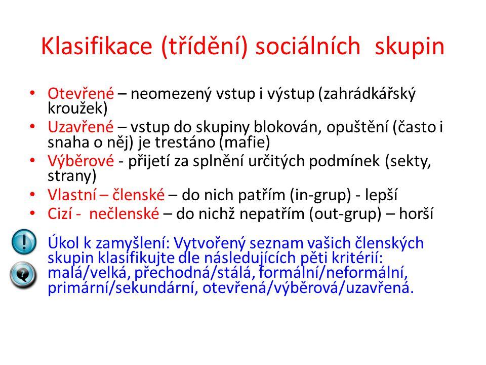 Klasifikace (třídění) sociálních skupin Otevřené – neomezený vstup i výstup (zahrádkářský kroužek) Uzavřené – vstup do skupiny blokován, opuštění (čas