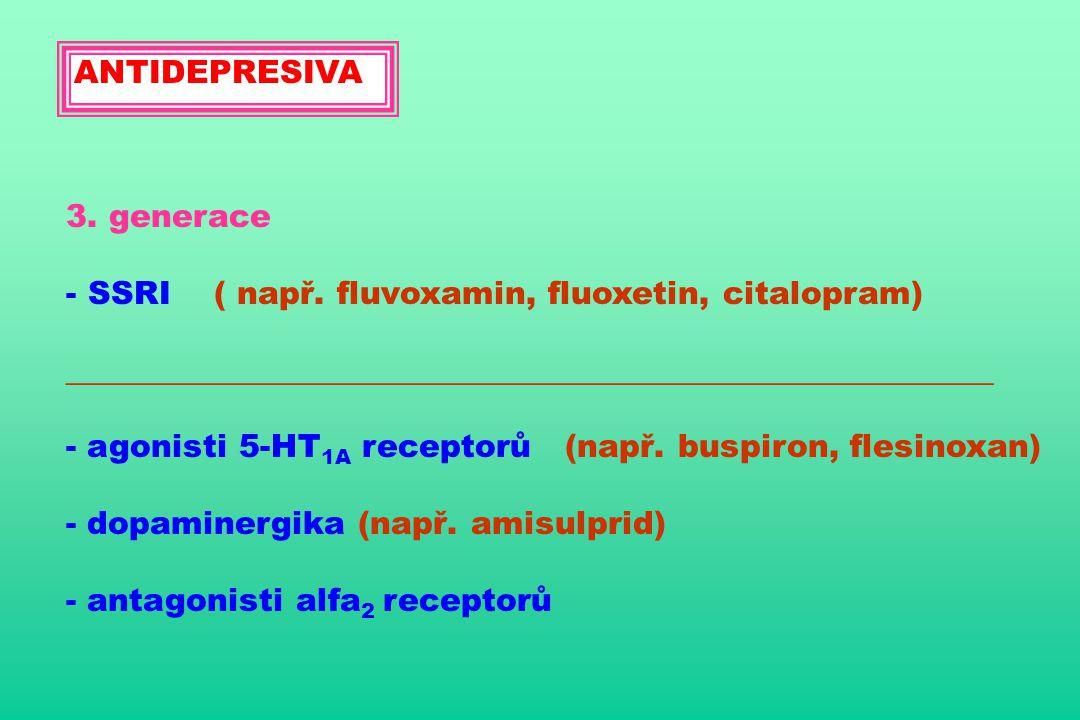 ANTIDEPRESIVA 3. generace - SSRI ( např. fluvoxamin, fluoxetin, citalopram) __________________________________________________________ - agonisti 5-HT