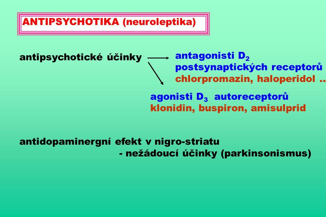 ANTIPSYCHOTIKA (neuroleptika) antipsychotické účinky antagonisti D 2 postsynaptických receptorů chlorpromazin, haloperidol.. agonisti D 3 autoreceptor