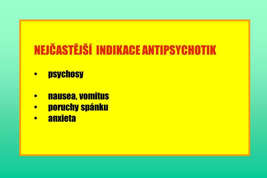 NEJČASTĚJŠÍ INDIKACE ANTIPSYCHOTIK psychosy nausea, vomitus poruchy spánku anxieta