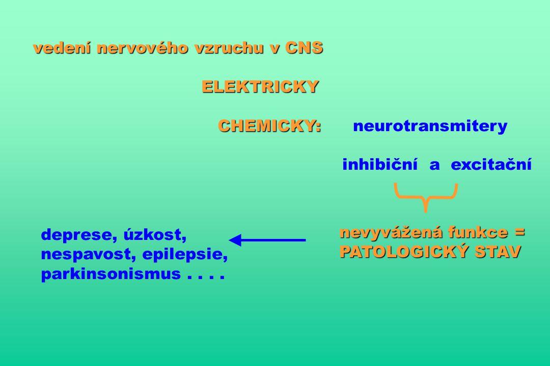 vedení nervového vzruchu v CNS ELEKTRICKY ELEKTRICKY CHEMICKY: CHEMICKY: neurotransmitery inhibiční a excitační nevyvážená funkce = PATOLOGICKÝ STAV deprese, úzkost, nespavost, epilepsie, parkinsonismus....