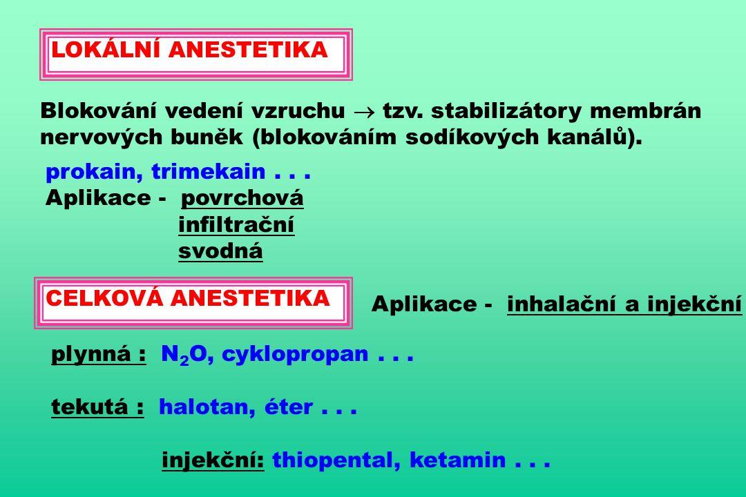 LOKÁLNÍ ANESTETIKA Blokování vedení vzruchu  tzv. stabilizátory membrán nervových buněk (blokováním sodíkových kanálů). prokain, trimekain... Aplikac
