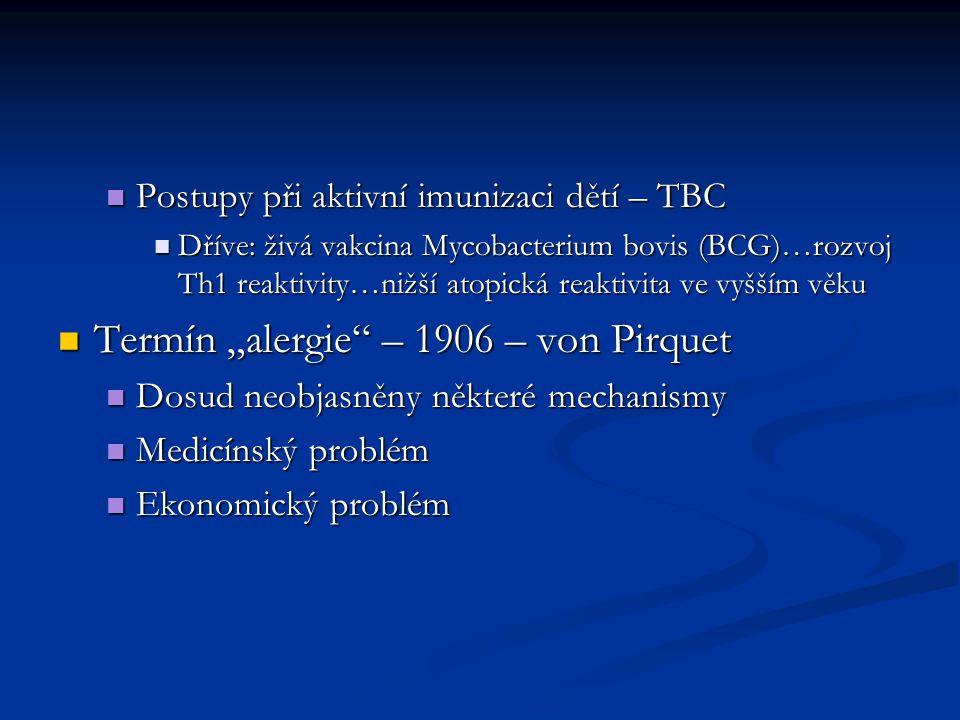 Postupy při aktivní imunizaci dětí – TBC Postupy při aktivní imunizaci dětí – TBC Dříve: živá vakcina Mycobacterium bovis (BCG)…rozvoj Th1 reaktivity…