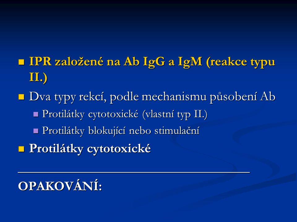 IPR založené na Ab IgG a IgM (reakce typu II.) IPR založené na Ab IgG a IgM (reakce typu II.) Dva typy rekcí, podle mechanismu působení Ab Dva typy re