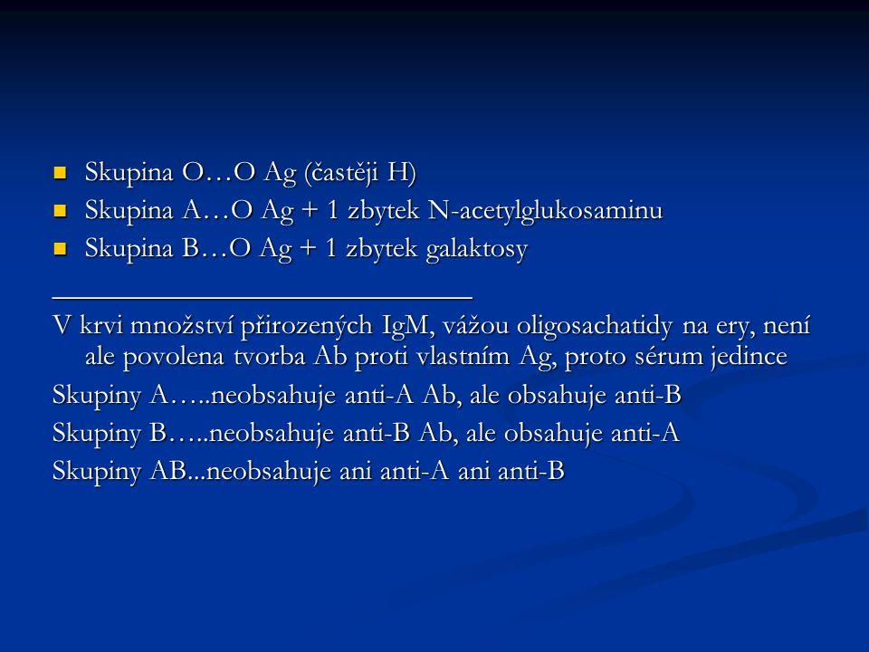 Skupina O…O Ag (častěji H) Skupina O…O Ag (častěji H) Skupina A…O Ag + 1 zbytek N-acetylglukosaminu Skupina A…O Ag + 1 zbytek N-acetylglukosaminu Skup