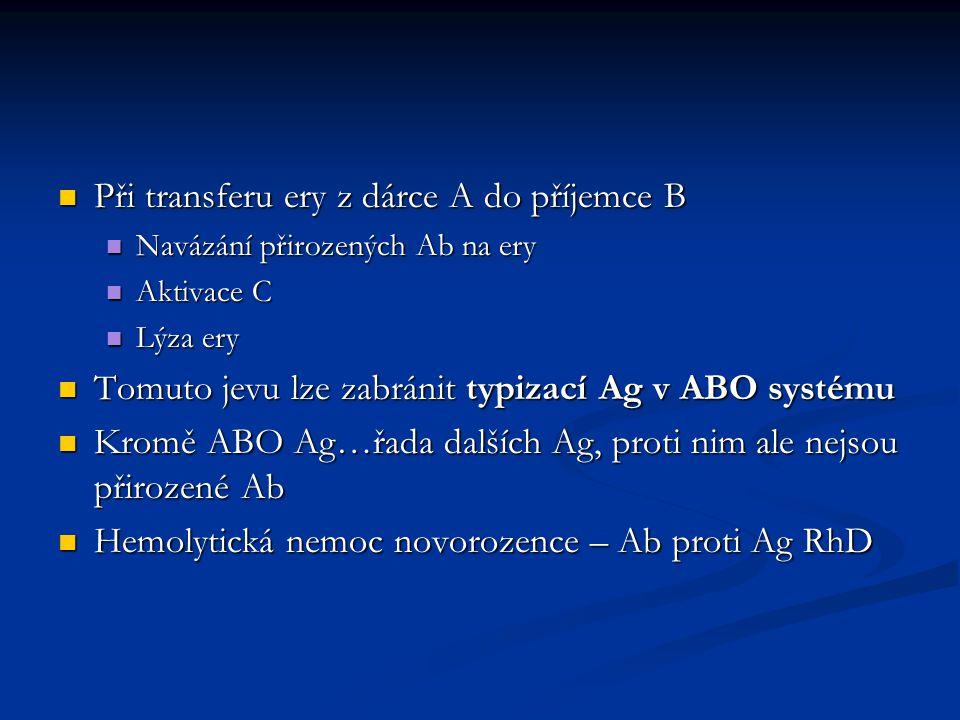 Při transferu ery z dárce A do příjemce B Při transferu ery z dárce A do příjemce B Navázání přirozených Ab na ery Navázání přirozených Ab na ery Akti