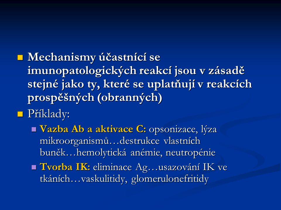 Vazba Ab: blokování adheze virů…blokování buněčných receptorů…myasthenia gravis Vazba Ab: blokování adheze virů…blokování buněčných receptorů…myasthenia gravis Produkce IgE: vypuzení parazitů…alergický zánět…alergická rýma, astma Produkce IgE: vypuzení parazitů…alergický zánět…alergická rýma, astma Aktivace Tc: destrukce infikovaných buněk…destrukce neinfikovaných (nebo inf.