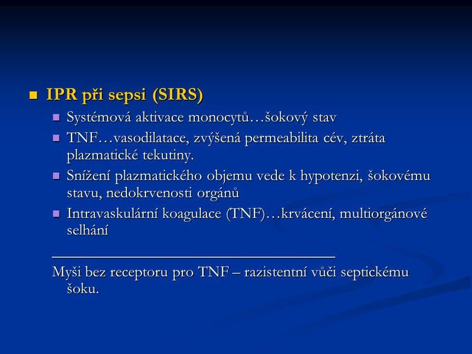 IPR při sepsi (SIRS) IPR při sepsi (SIRS) Systémová aktivace monocytů…šokový stav Systémová aktivace monocytů…šokový stav TNF…vasodilatace, zvýšená pe