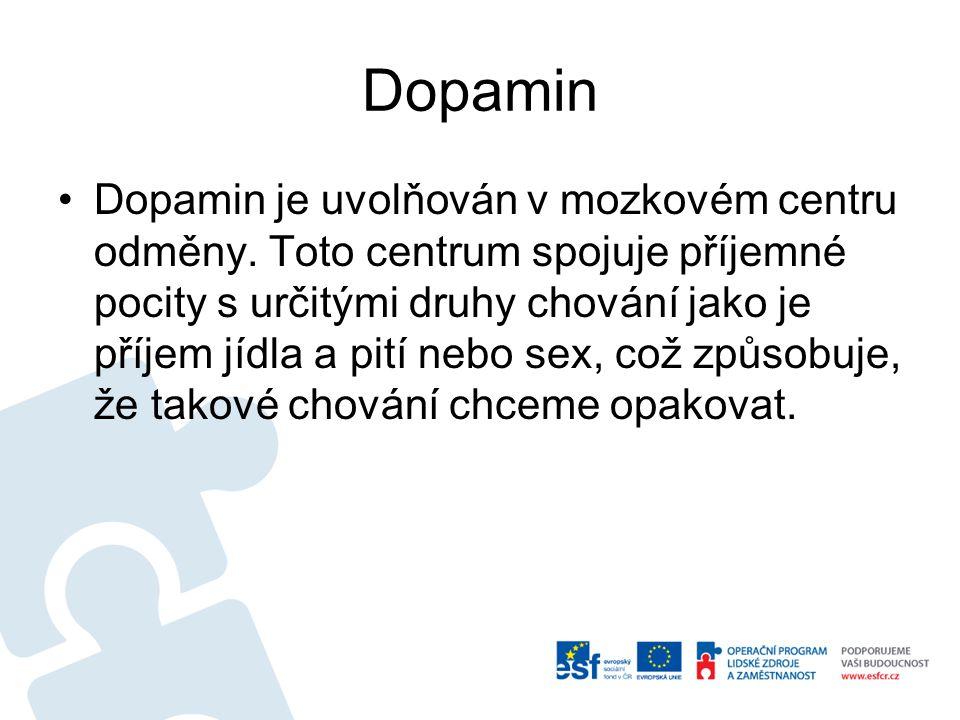 Dopamin Dopamin je uvolňován v mozkovém centru odměny. Toto centrum spojuje příjemné pocity s určitými druhy chování jako je příjem jídla a pití nebo