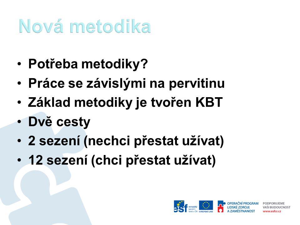 Potřeba metodiky? Práce se závislými na pervitinu Základ metodiky je tvořen KBT Dvě cesty 2 sezení (nechci přestat užívat) 12 sezení (chci přestat uží