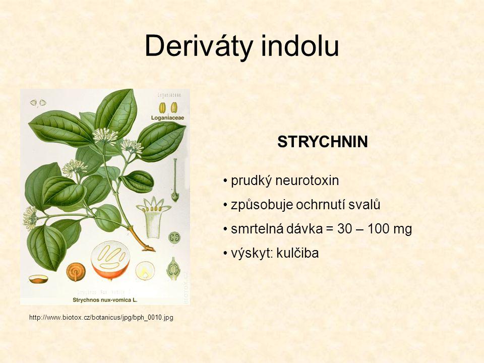 Deriváty indolu STRYCHNIN prudký neurotoxin způsobuje ochrnutí svalů smrtelná dávka = 30 – 100 mg výskyt: kulčiba http://www.biotox.cz/botanicus/jpg/b