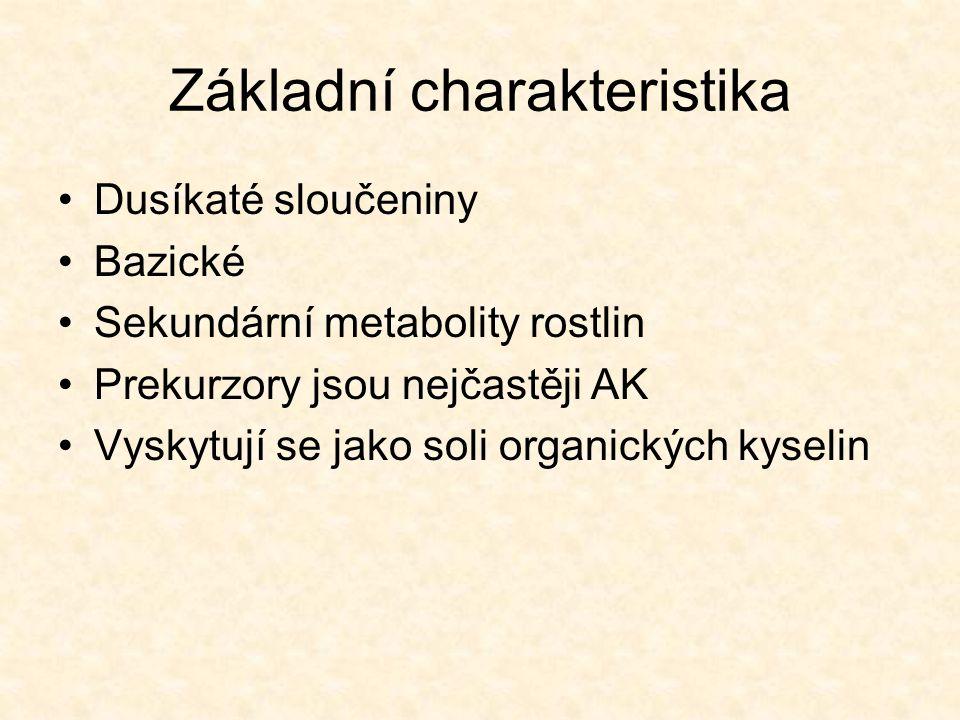Základní charakteristika Dusíkaté sloučeniny Bazické Sekundární metabolity rostlin Prekurzory jsou nejčastěji AK Vyskytují se jako soli organických ky