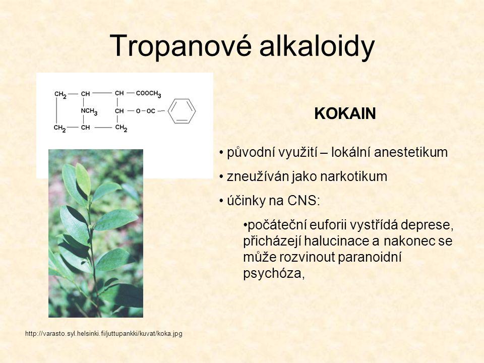 Tropanové alkaloidy http://varasto.syl.helsinki.fi/juttupankki/kuvat/koka.jpg KOKAIN původní využití – lokální anestetikum zneužíván jako narkotikum ú