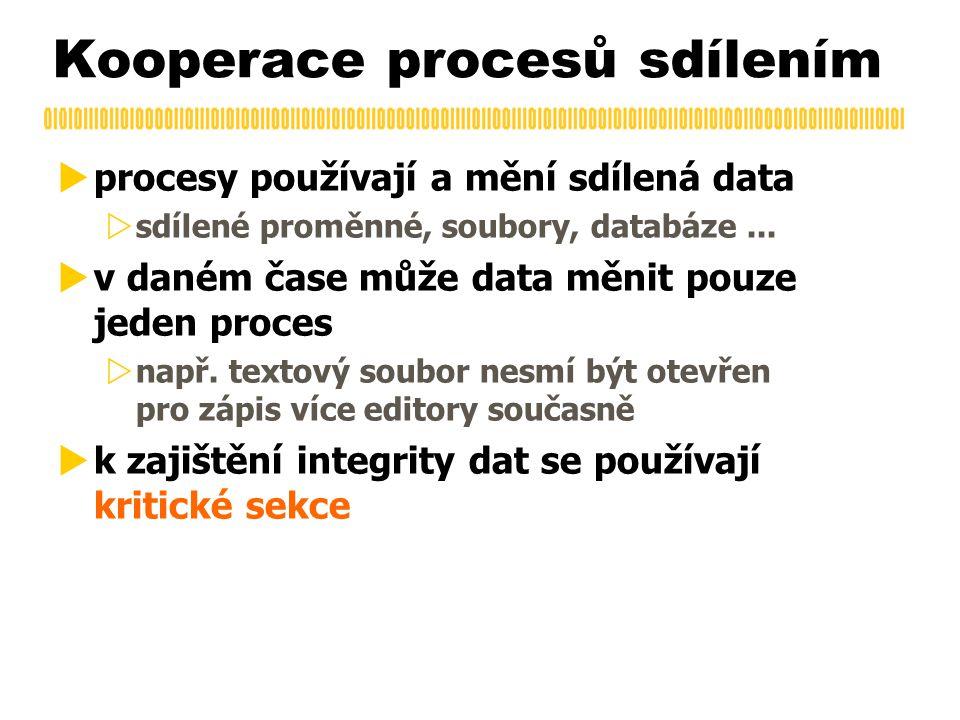 Kooperace procesů sdílením  procesy používají a mění sdílená data  sdílené proměnné, soubory, databáze...