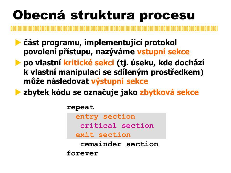 Obecná struktura procesu  část programu, implementující protokol povolení přístupu, nazýváme vstupní sekce  po vlastní kritické sekci (tj.