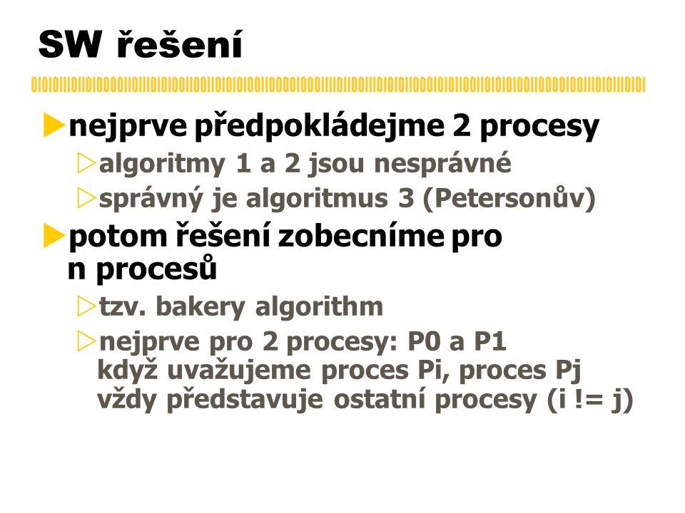 SW řešení  nejprve předpokládejme 2 procesy  algoritmy 1 a 2 jsou nesprávné  správný je algoritmus 3 (Petersonův)  potom řešení zobecníme pro n procesů  tzv.
