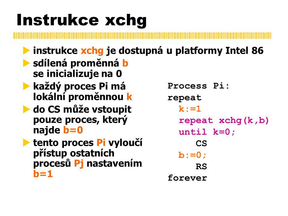 Instrukce xchg  instrukce xchg je dostupná u platformy Intel 86  sdílená proměnná b se inicializuje na 0  každý proces Pi má lokální proměnnou k  do CS může vstoupit pouze proces, který najde b=0  tento proces Pi vyloučí přístup ostatních procesů Pj nastavením b=1 Process Pi: repeat k:=1 repeat xchg(k,b) until k=0; CS b:=0; RS forever