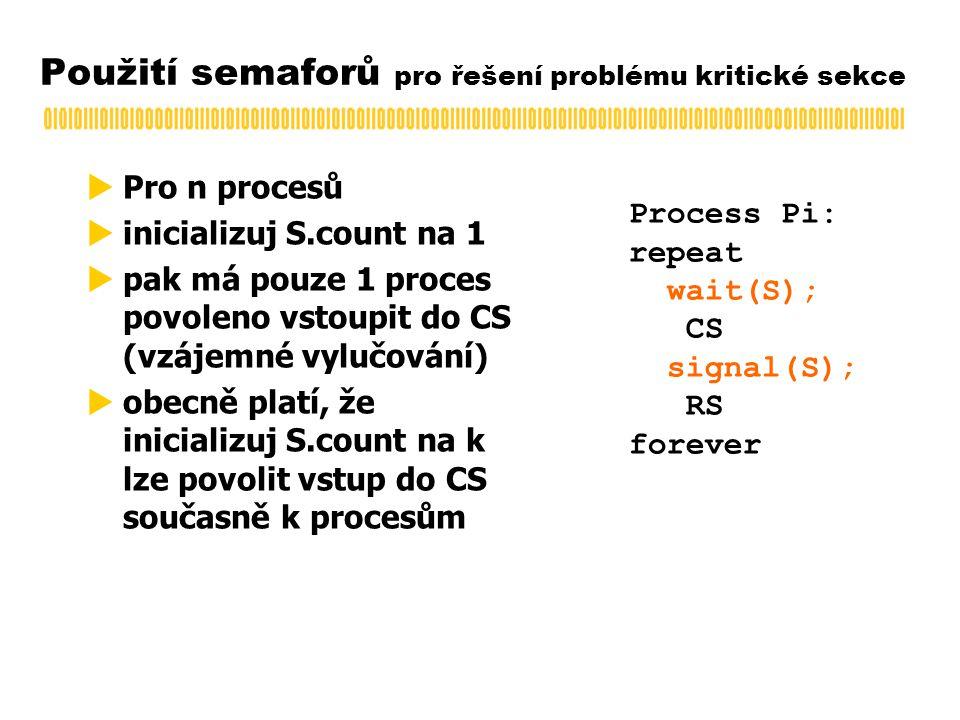 Použití semaforů pro řešení problému kritické sekce  Pro n procesů  inicializuj S.count na 1  pak má pouze 1 proces povoleno vstoupit do CS (vzájemné vylučování)  obecně platí, že inicializuj S.count na k lze povolit vstup do CS současně k procesům Process Pi: repeat wait(S); CS signal(S); RS forever