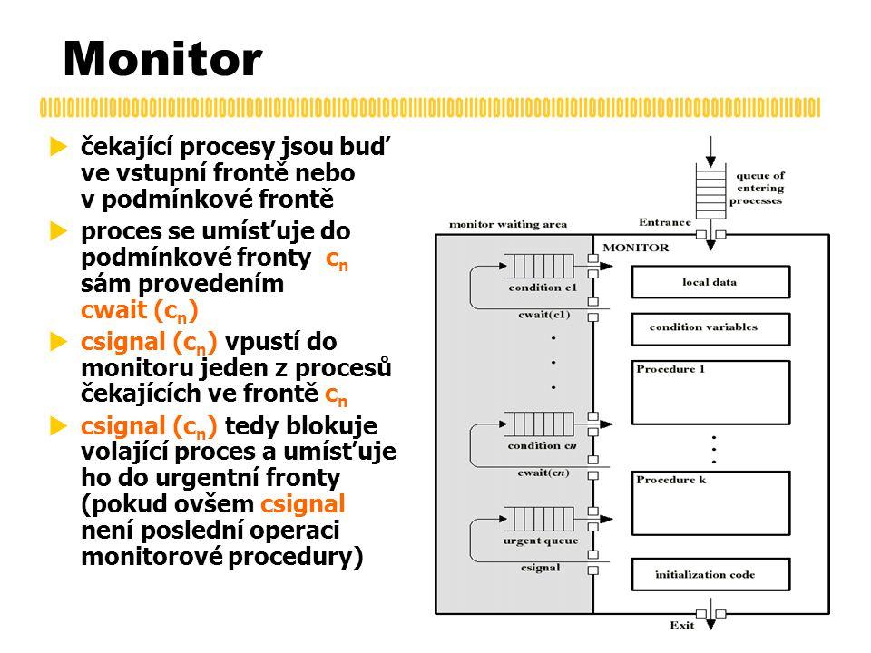 Monitor  čekající procesy jsou buď ve vstupní frontě nebo v podmínkové frontě  proces se umísťuje do podmínkové fronty c n sám provedením cwait (c n )  csignal (c n ) vpustí do monitoru jeden z procesů čekajících ve frontě c n  csignal (c n ) tedy blokuje volající proces a umísťuje ho do urgentní fronty (pokud ovšem csignal není poslední operaci monitorové procedury)