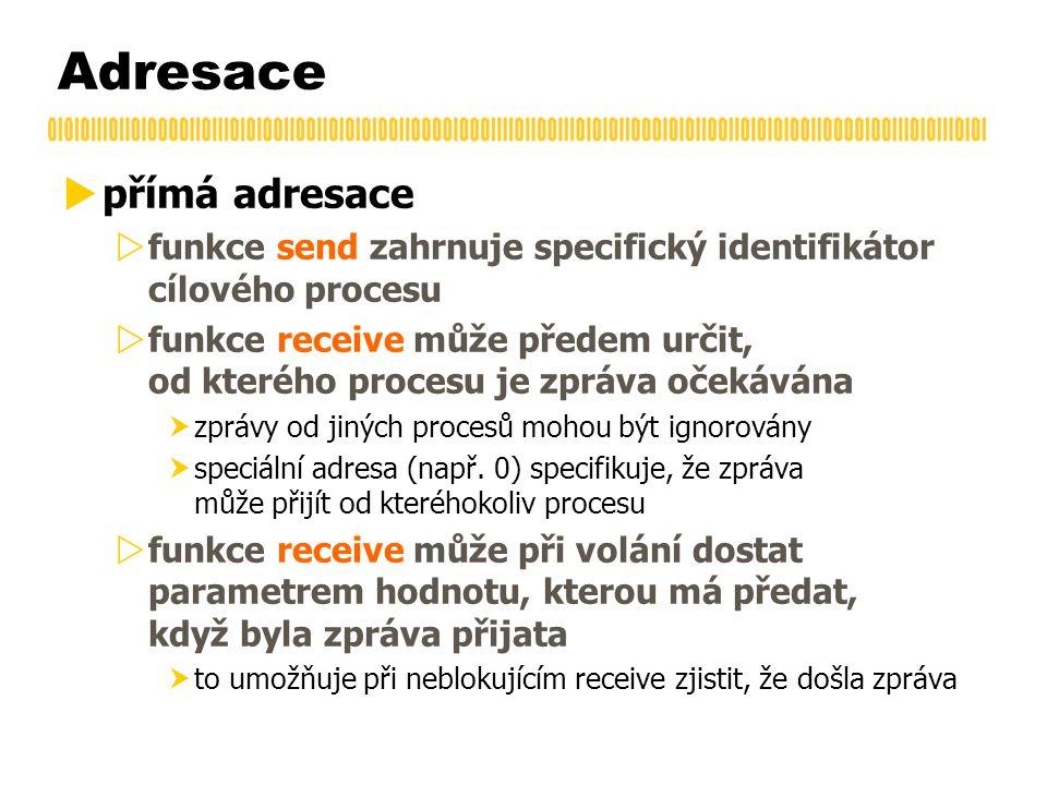 Adresace  přímá adresace  funkce send zahrnuje specifický identifikátor cílového procesu  funkce receive může předem určit, od kterého procesu je zpráva očekávána  zprávy od jiných procesů mohou být ignorovány  speciální adresa (např.