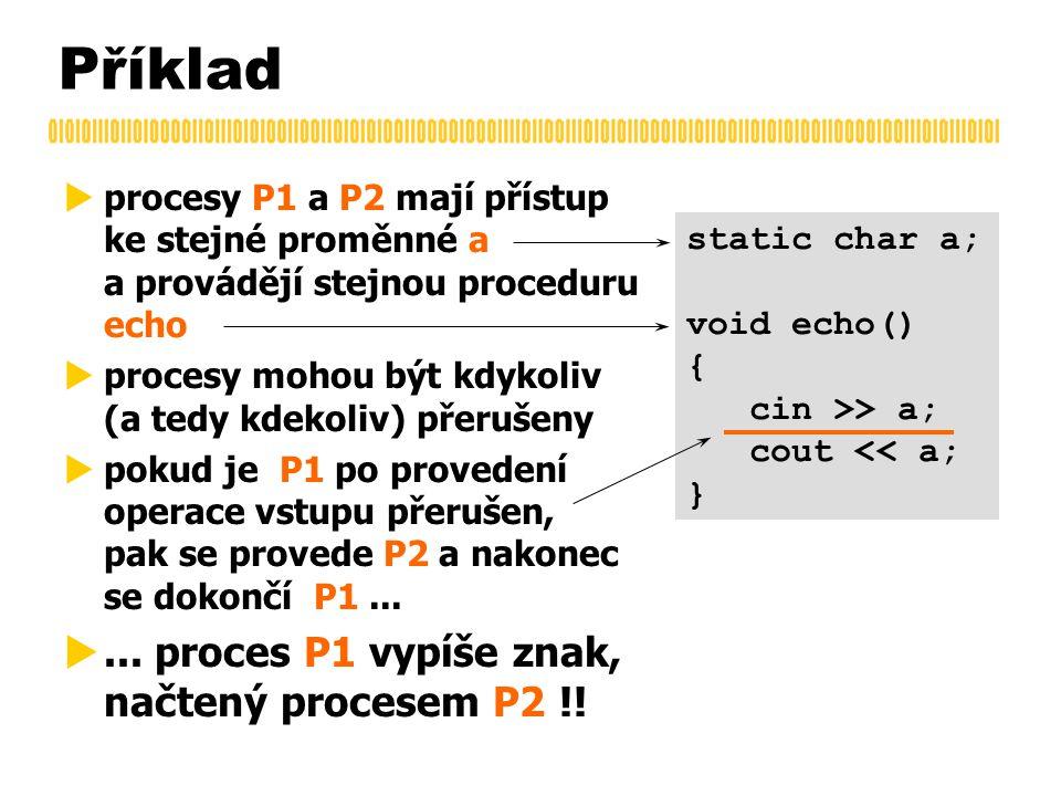 Příklad  procesy P1 a P2 mají přístup ke stejné proměnné a a provádějí stejnou proceduru echo  procesy mohou být kdykoliv (a tedy kdekoliv) přerušeny  pokud je P1 po provedení operace vstupu přerušen, pak se provede P2 a nakonec se dokončí P1...
