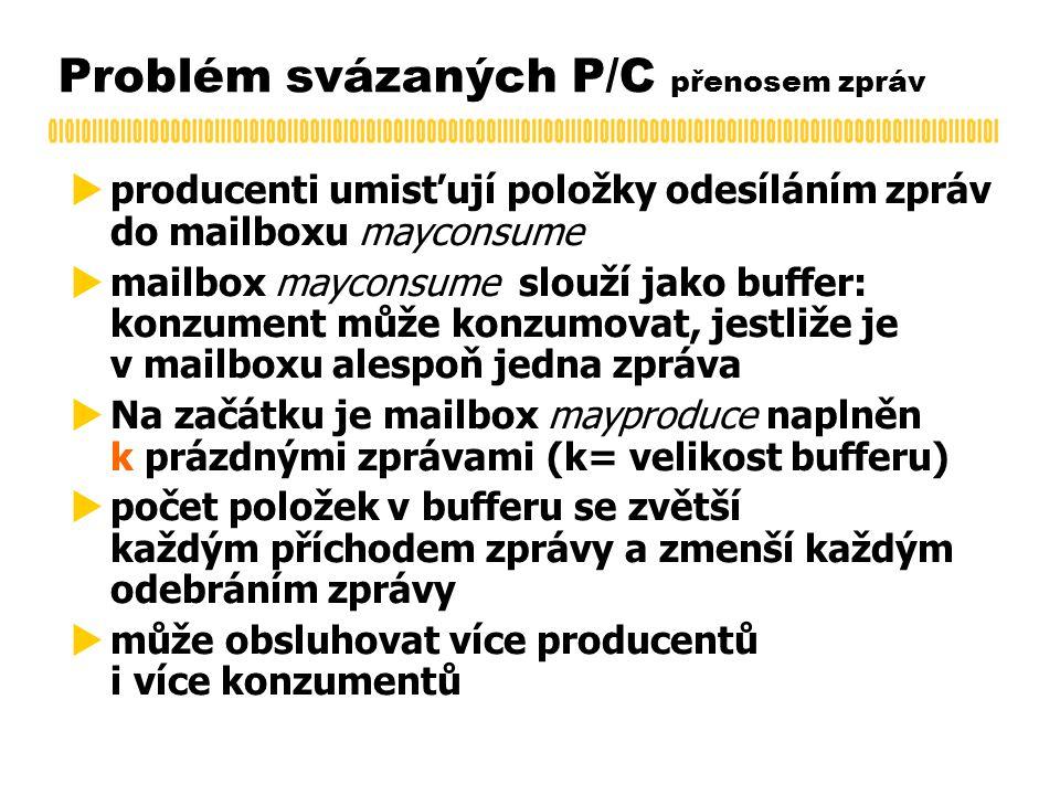 Problém svázaných P/C přenosem zpráv  producenti umisťují položky odesíláním zpráv do mailboxu mayconsume  mailbox mayconsume slouží jako buffer: konzument může konzumovat, jestliže je v mailboxu alespoň jedna zpráva  Na začátku je mailbox mayproduce naplněn k prázdnými zprávami (k= velikost bufferu)  počet položek v bufferu se zvětší každým příchodem zprávy a zmenší každým odebráním zprávy  může obsluhovat více producentů i více konzumentů