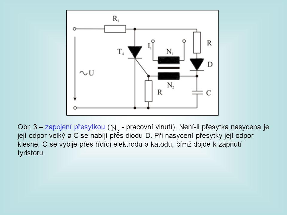 Obr. 3 – zapojení přesytkou ( - pracovní vinutí). Není-li přesytka nasycena je její odpor velký a C se nabíjí přes diodu D. Při nasycení přesytky její