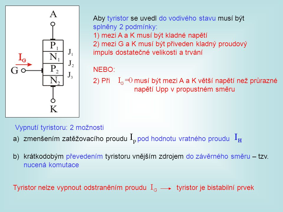 Aby tyristor se uvedl do vodivého stavu musí být splněny 2 podmínky: 1) mezi A a K musí být kladné napětí 2) mezi G a K musí být přiveden kladný proud