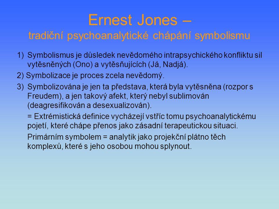 Ernest Jones – tradiční psychoanalytické chápání symbolismu 1)Symbolismus je důsledek nevědomého intrapsychického konfliktu sil vytěsněných (Ono) a vy