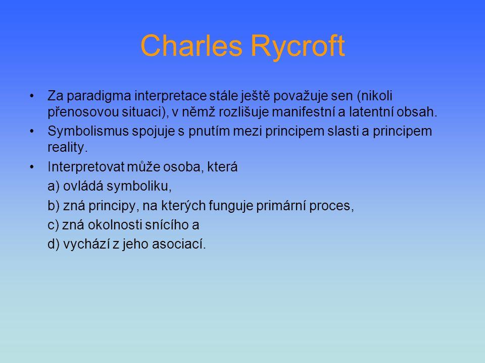 Charles Rycroft Za paradigma interpretace stále ještě považuje sen (nikoli přenosovou situaci), v němž rozlišuje manifestní a latentní obsah. Symbolis