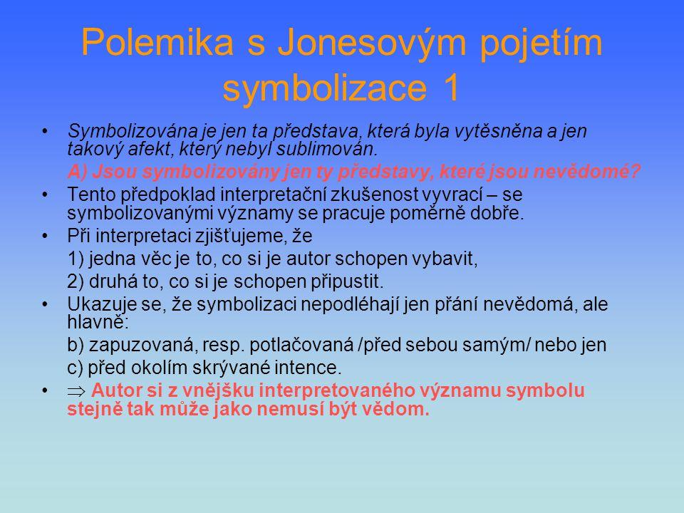 Polemika s Jonesovým pojetím symbolizace 1 Symbolizována je jen ta představa, která byla vytěsněna a jen takový afekt, který nebyl sublimován. A) Jsou
