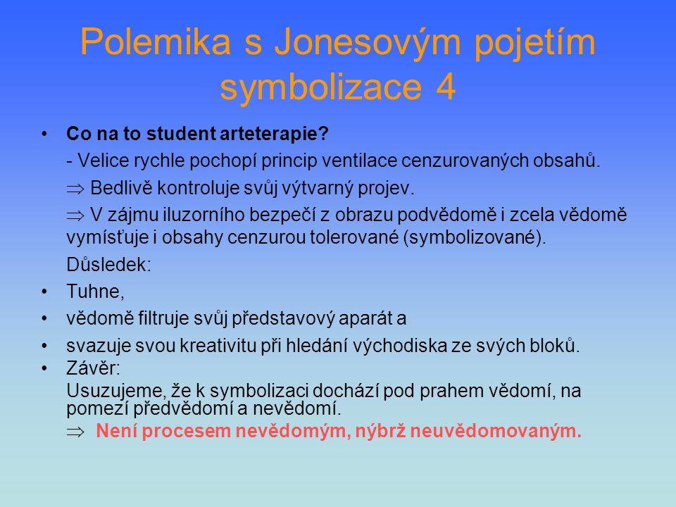 Polemika s Jonesovým pojetím symbolizace 4 Co na to student arteterapie? - Velice rychle pochopí princip ventilace cenzurovaných obsahů.  Bedlivě kon