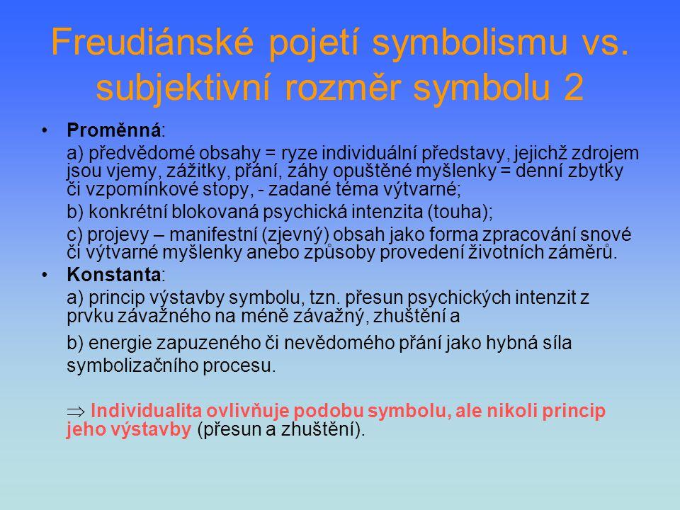 Freudiánské pojetí symbolismu vs. subjektivní rozměr symbolu 2 Proměnná: a) předvědomé obsahy = ryze individuální představy, jejichž zdrojem jsou vjem