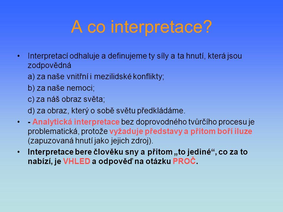 A co interpretace? Interpretací odhaluje a definujeme ty síly a ta hnutí, která jsou zodpovědná a) za naše vnitřní i mezilidské konflikty; b) za naše
