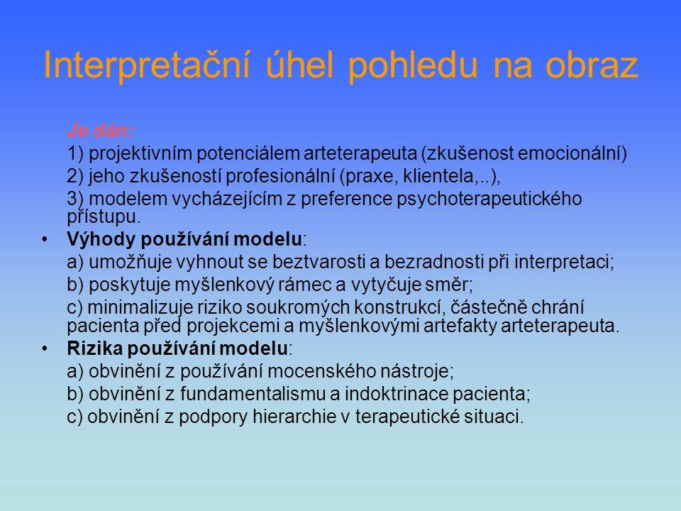 Interpretační úhel pohledu na obraz Je dán: 1) projektivním potenciálem arteterapeuta (zkušenost emocionální) 2) jeho zkušeností profesionální (praxe,