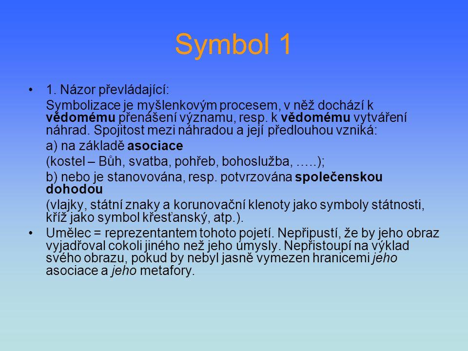 Symbol 1 1. Názor převládající: Symbolizace je myšlenkovým procesem, v něž dochází k vědomému přenášení významu, resp. k vědomému vytváření náhrad. Sp