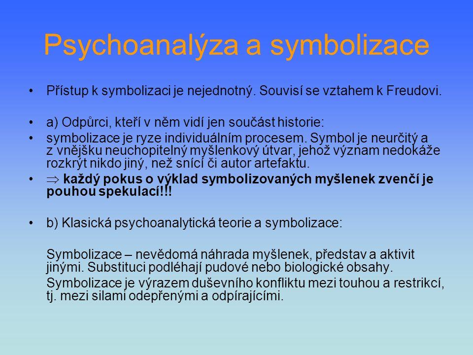 Psychoanalýza a symbolizace Přístup k symbolizaci je nejednotný. Souvisí se vztahem k Freudovi. a) Odpůrci, kteří v něm vidí jen součást historie: sym
