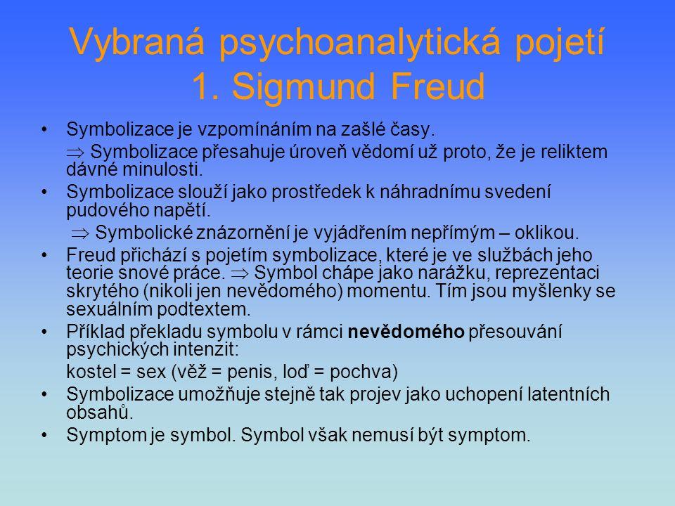 Vybraná psychoanalytická pojetí 1. Sigmund Freud Symbolizace je vzpomínáním na zašlé časy.  Symbolizace přesahuje úroveň vědomí už proto, že je relik