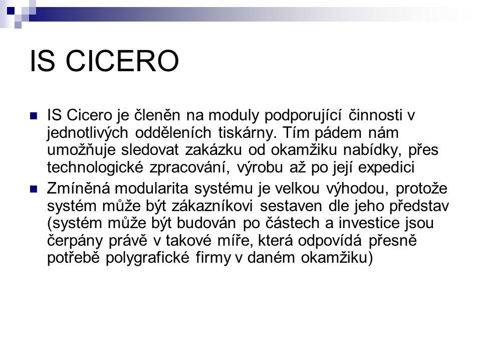 IS CICERO IS Cicero je členěn na moduly podporující činnosti v jednotlivých odděleních tiskárny.