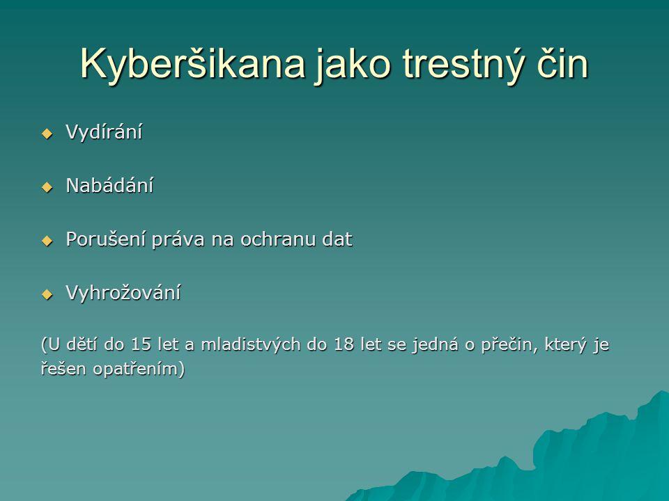 Kyberšikana jako trestný čin  Vydírání  Nabádání  Porušení práva na ochranu dat  Vyhrožování (U dětí do 15 let a mladistvých do 18 let se jedná o