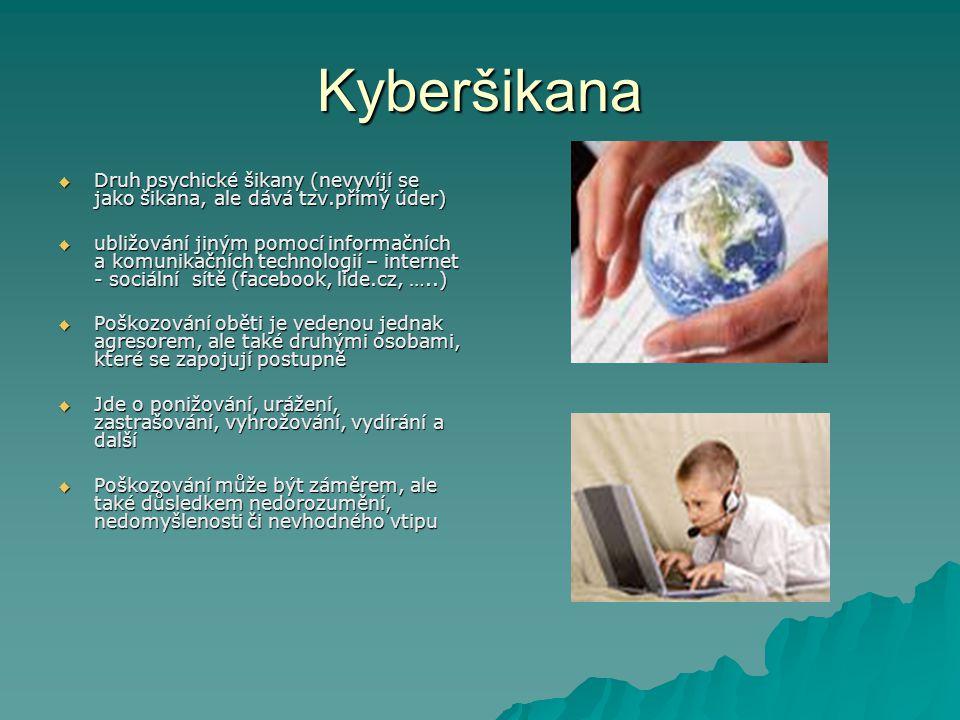 Kyberšikana  Druh psychické šikany (nevyvíjí se jako šikana, ale dává tzv.přímý úder)  ubližování jiným pomocí informačních a komunikačních technolo