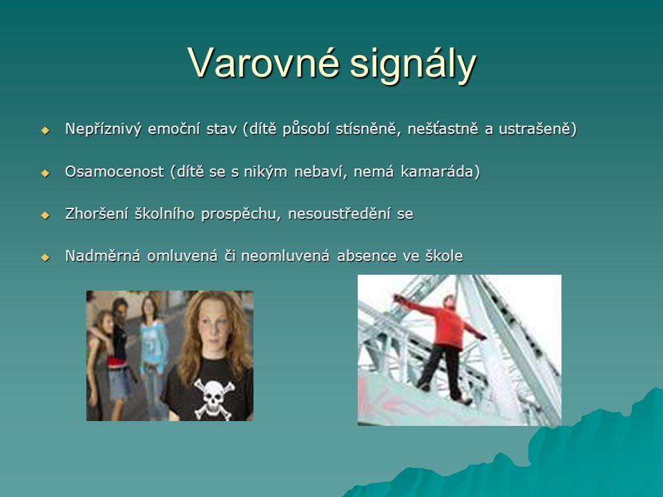 Varovné signály  Nepříznivý emoční stav (dítě působí stísněně, nešťastně a ustrašeně)  Osamocenost (dítě se s nikým nebaví, nemá kamaráda)  Zhoršen
