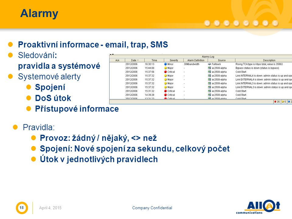 Company ConfidentialApril 4, 2015 18 Alarmy Proaktivní informace - email, trap, SMS Sledování: pravidla a systémové Systemové alerty Spojení DoS útok