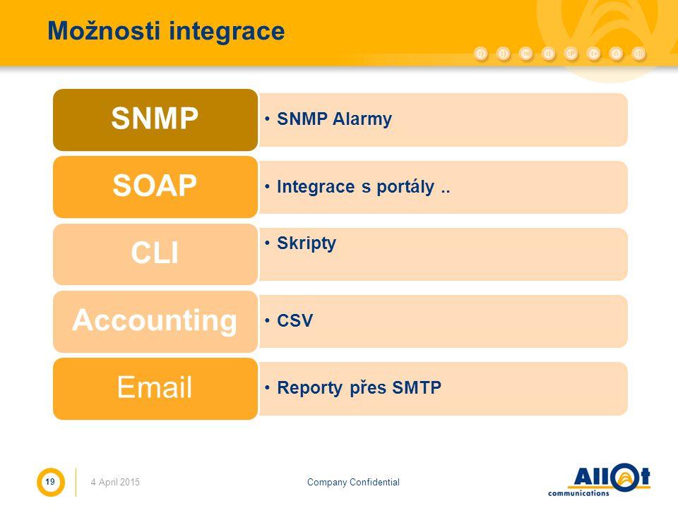 Company Confidential Možnosti integrace SNMP Alarmy SNMP Integrace s portály.. SOAP Skripty CLI CSV Accounting Reporty přes SMTP Email 4 April 2015 19