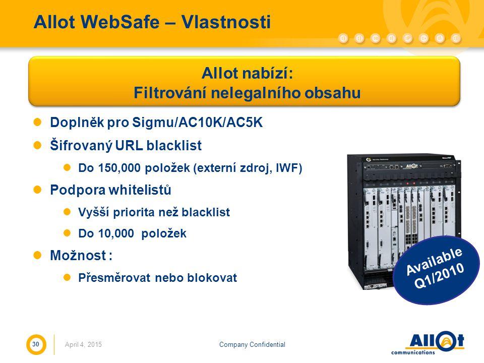 Company Confidential Allot WebSafe – Vlastnosti Doplněk pro Sigmu/AC10K/AC5K Šifrovaný URL blacklist Do 150,000 položek (externí zdroj, IWF) Podpora w