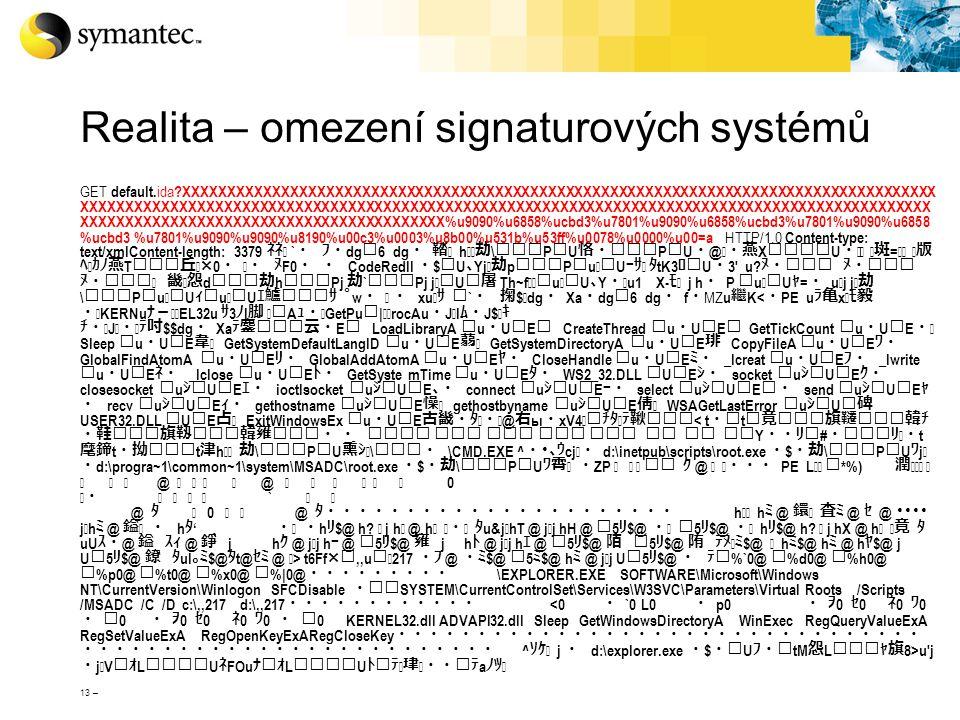 13 – Realita – omezení signaturových systémů GET default. ida ?XXXXXXXXXXXXXXXXXXXXXXXXXXXXXXXXXXXXXXXXXXXXXXXXXXXXXXXXXXXXXXXXXXXXXXXXXXXXXXXXXXXXX X