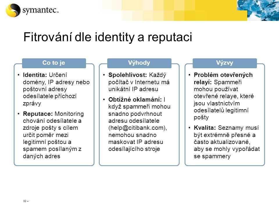 32 – Fitrování dle identity a reputaci Identita: Určení domény, IP adresy nebo poštovní adresy odesílatele příchozí zprávy Reputace: Monitoring chován