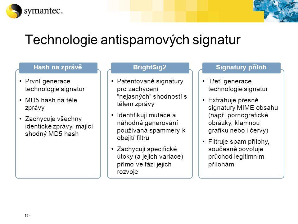38 – Technologie antispamových signatur První generace technologie signatur MD5 hash na těle zprávy Zachycuje všechny identické zprávy, mající shodný