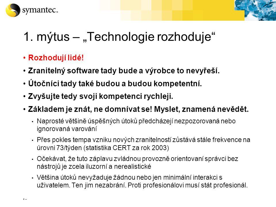"""4 – 1. mýtus – """"Technologie rozhoduje"""" Rozhodují lidé! Zranitelný software tady bude a výrobce to nevyřeší. Útočníci tady také budou a budou kompetent"""