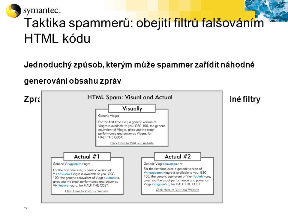 40 – Taktika spammerů: obejití filtrů falšováním HTML kódu Jednoduchý způsob, kterým může spammer zařídit náhodné generování obsahu zpráv Zprávy s HTM